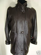 TIBOR size S NEW Brown Padded Shoulder  Anarak style leather  coat