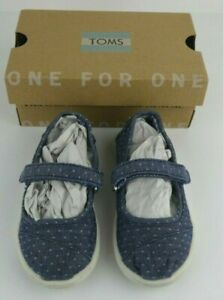 Toms Toddler Girls Size 6 Mary Janes Blue White Polka Dots Walking Flats Shoes