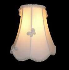 Small Lamp Shade Ivory Curved-Bell 7.25-inches Tall w Spider Fitter, Butterflies