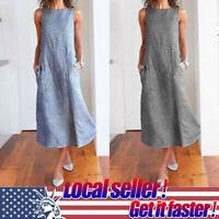 Women Boho Casual Striped Sleeveless O-Neck Cotton Linen Pocket Long Dress S-2XL