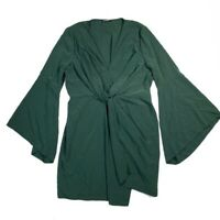 SHEIN Womens Dress Size 2X Plus Twist Front Faux Wrap Bell Sleeve Green Plunging