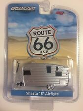 GREENLIGHT M&J Toys Exclusive Route 66 Silver SHASTA 15' AIRFLYTE Camper 1:64