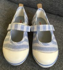 John Lewis Girls Sandals Infant 7 Canvas Mary Janes Blue Stripy Casual Holiday