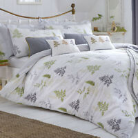 Dreams & Drapes LINDEN FERN Duvet Bedding Set - Leaf Tree Print Green Grey White