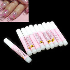 Lots 10pcs Professional Glue Nail False Art Decorate Sticks Tips Acrylic Beauty