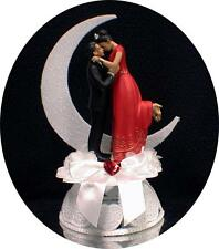 RED Gown East Indian Bride Tux Groom Wedding Cake Topper Moonlight Romance