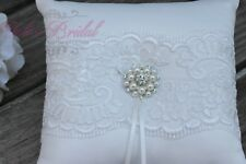Romantic Ivory Ring Pillow, Beautiful Lace Ring Bearer Pillow with Brooch