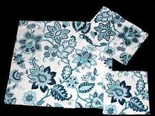 3 Pc C HOME JACOBEAN Blue Green Floral Scroll Plush Velour Bath Towel Set NEW