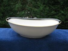 "NORITAKE IVORY CHINA 7274 IVORY AND EBONY 10"" OVAL SERVING BOWL JAPAN"