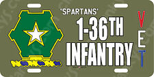 1-36th Infantry US Army Veteran - OD Green Aluminum License Plate Made in USA