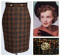 St Michael M&S Tweed Skirt 16 Pencil Wiggle Black Nubby Textured Vintage Gold