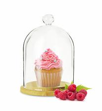 Campana de vidrio con plato madera 19cm Cubierta Cristal Cúpula Muffin TAPA