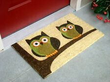 """Vinyl Backed Twin Owls Printed Coco Doormat 0.5"""" Thick - 18 by 30-Inch"""