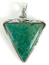 Handcrafted Sterling Silver Large Dark Green Jasper Triangle Pendant Pin