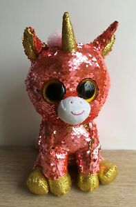 """TY Beanie 10"""" Unicorn Sunset Flippable Pink Gold Sequin Soft Toy. 2019"""