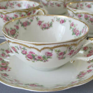 6 HAVILAND Porcelain Cups & Saucers Pink ROSE Swags Double GOLD * Schleiger 270