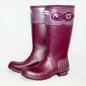 HUNTER Original Kids Tonal Contrast Boot Girls 6 Boys 5 Eu 37 Plum JFT6000RTC