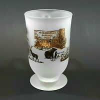 Vintage Yellowstone National Park Frosted Glass Mug Gold Print Libbey Glass EXC