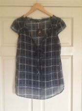 Ladies Blue Patterned Short Sleeved Primark Top. Sheer. Size 12. New With Tag