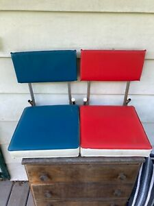 Vintage 2 mid century  Portable Folding Stadium Seat Chairs