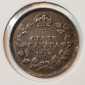 1918 Canada 5 SILVER five cents - COMBINED SHIPPING - C5-038