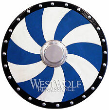 ROUND VIKING SPIRAL SHIELD - sca/larp/medieval/gothic/Norse/barbarian/wood/armor