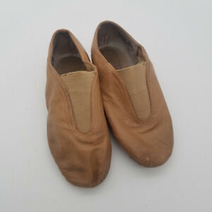 Alexandra Collection Tan Jazz Hip Hop Dance Slip-On Shoes Size 1AD Style AC2