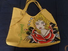 "ED HARDY 1971 YELLOW VERONICA TOTE SHOPPER BAG 17"" X 14"" X 6"""