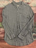 Beach Lunch Lounge Button Up Flannel Women's Size Large White Blue Striped