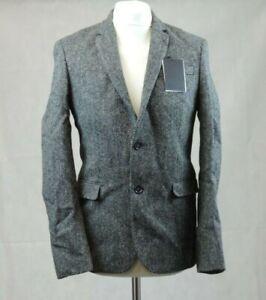 Asos Harris Tweed Slim Fit Grey Suit wool Jacket Size 38 CR008 JJ 09