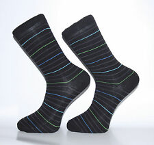 High Quality Black Socks With Thin Blue, Green and Grey Stripes