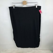 Xhilaration Womens Skirt Black Zip-Up Fitted Straight Pencil Classic Career XXL