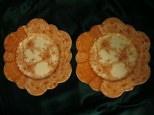 2 Very Rare 1889 Antique Wileman Foley 6027 Jungle Print Snowdrop Shaped Plates