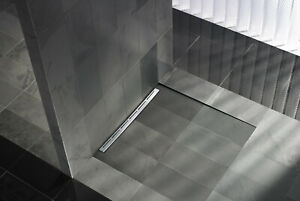 """32"""" wide Linear shower drain with flange for custom shower base"""