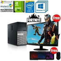 Fast Gaming PC Computer Bundle Intel Quad Core i5 16GB 1TB HDD Windows 10 GT 730