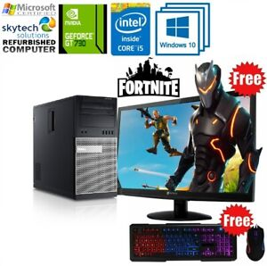 Fast Gaming PC Computer Bundle Intel Quad Core i5 16GB 1TB HDD Windows 10 GT 730