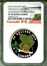 2016 Canada S$20 Venetian Glass Snail Colorized ER NGC PF70 Ultra Cameo