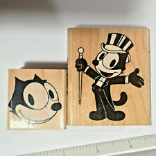FELIX The CAT Rubber Stamp  Mid Century Cartoon  TOP HAT TUXEDO Lot  Inkadinkado