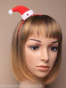 New Christmas Santa Hat Hairband Aliceband or Hair Grip Clip Party Office School