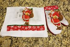 Set of Holiday Time Christmas SANTA Oven Mitt and Kitchen Dish Towel