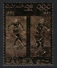 Zambia US Olympic Champions Figure Skating Javelin on GOLD Foil MNH MI#D317