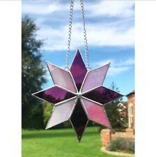 Fatto A MANO VETRO COLORATO ROSA Star Suncatcher, Decorazione, vetro Tecnica Tiffany
