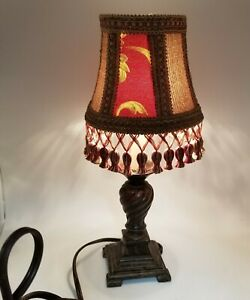 Small Bedside Night Stand Lamp Light With Gold & Maroon Colored Shade. Turn...