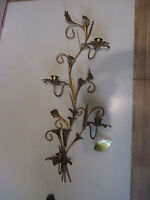 "Vintage Gold Metal 4-Arm Wall Sconce/ Candelabra 28"" T  x 12""W x 4 1/2"" Deep"