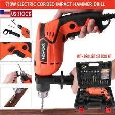 "1/2"" Corded Electric 710W Hammer Drill  With Drill Bit Set Tool Kit Heavy Duty"