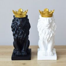 Crown Lion Statue Home Office Bar Faith Resin Sculpture Model Crafts Ornaments