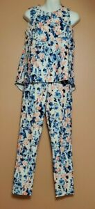 Alice through the Looking Glass 2 Piece Top & Pants Blue Pink White Multi Sz. XS