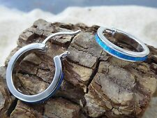 20 MM Sterling Silver lever back Hoop Earrings with inlaid Opal