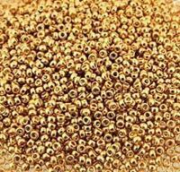 Miyuki Round Rocailles 11//0 Duracoat Galvanized Yellow Gold Sd Bd RR-1053//182