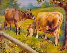 8x10 Miner Print Farm Animal Farming Livestock Dairy Cattle Herd Jersey Cows Cow